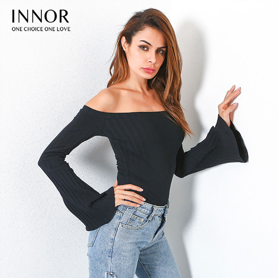 innor Fashion Women Pullover Sweaters Full Sleeve Solid Knitted Sweater Women Off Shoulder Design Sweaters Jumper