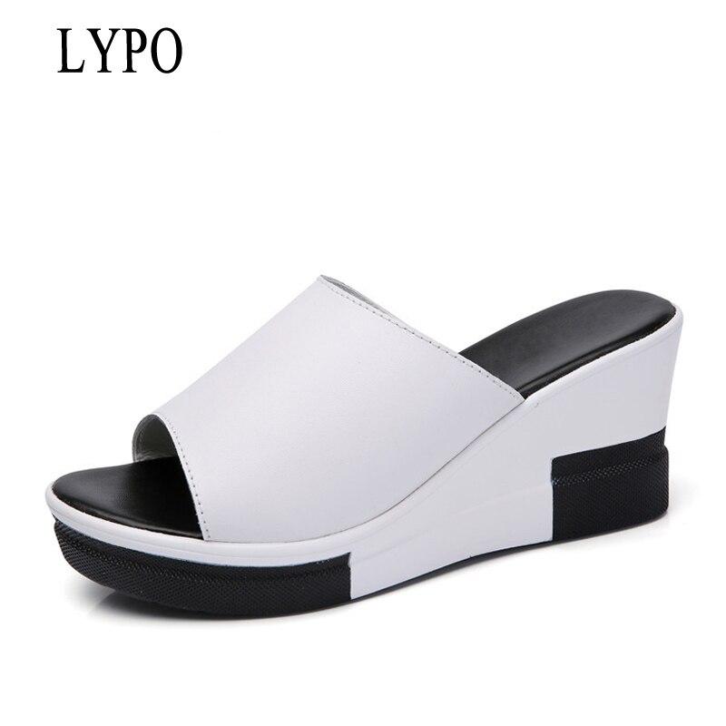 LYPO-SPHERE 2018 D'été De Mode Nouveau En Cuir Coins Sandales Dames Plate-Forme Pantoufle femmes chaussures de plage un mot de femmes Pantoufle
