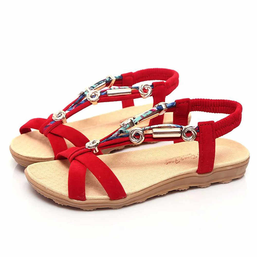 7bb5ed4a3eb22 ... Women Sandals Plus Size 42 Gladiator Sandals For Women Summer Shoes  Female Beach Flat Sandals Shoes ...