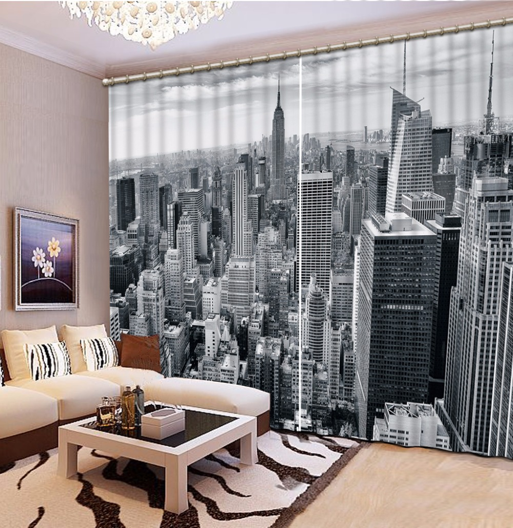 Home Bedroom Decoration Fashion Customized 3D Curtain Grey City Scenery Curtains For Bedroom Blackout Shade Window Curtains