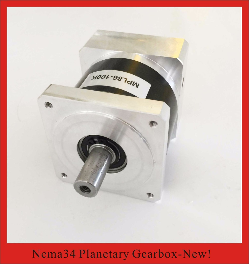 15:1 20:1 NEMA34 Planetary Gearbox for nema 34 Stepper Motor 50N.m (6944oz-in) Rated Torque 14mm Input and 16mm Output 2pcs lot high torque planetary gearbox is a no 17 stepping motor 788 oz in 15 1 20 1 25 1 with a 34 mm motor body length