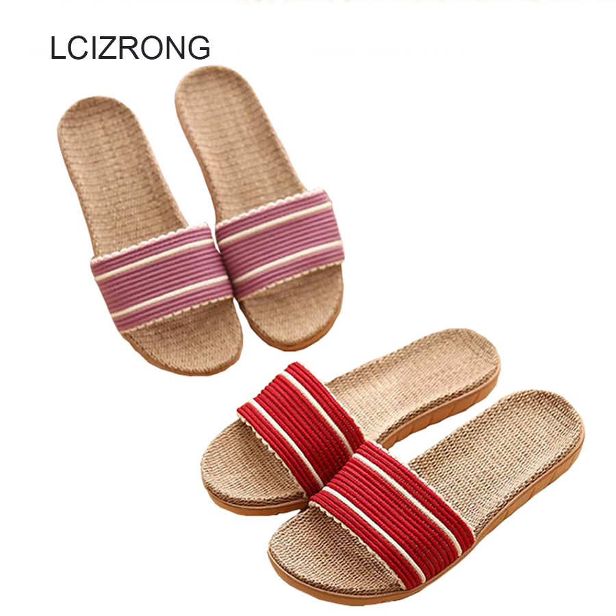 LCIZRONG 5 Colors Flax Straw Lover Indoor Slippers Women 35-45 Size Hemp Ladies Flat Slides Non-slip Unisex Home Slippers Female