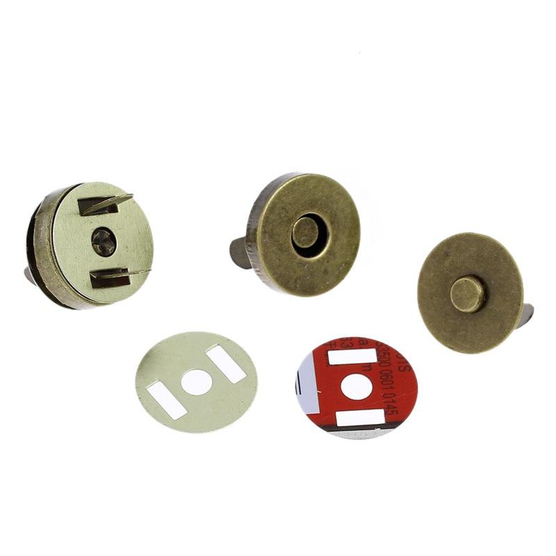 50 Sets Bronze Tone Round Magnetic Purse Snap Clasps Closure Fermoir Handbag Making 18mm