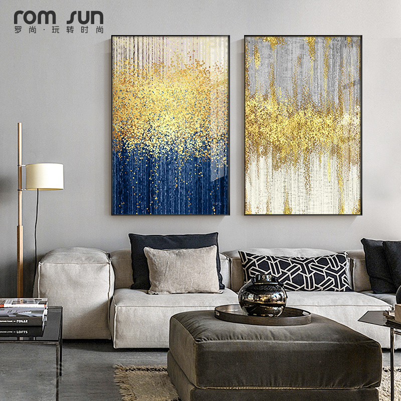 blue gray living room modern paint colors | Abstract blue and grey Bright Color drop Canvas Art Modern ...