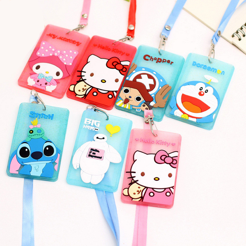 New Portable Silicone Bus Card Case Holder Cute Cartoon Kitty Cat Care Student ID Identity Badge Credit Cards Cover With Lanyard