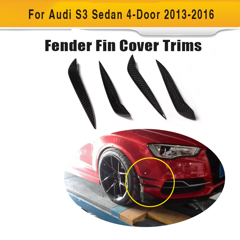 Carbon fiber Car Moulding Decorative Fins Canards Front Sticker Splitter for Audi S3 Sline Sedan 4 Door 13-16 Not A3 Standard universal auto car bumper moulding decorative fins canards front splitter sticker carbon fiber car styling for all cars 4pcs set