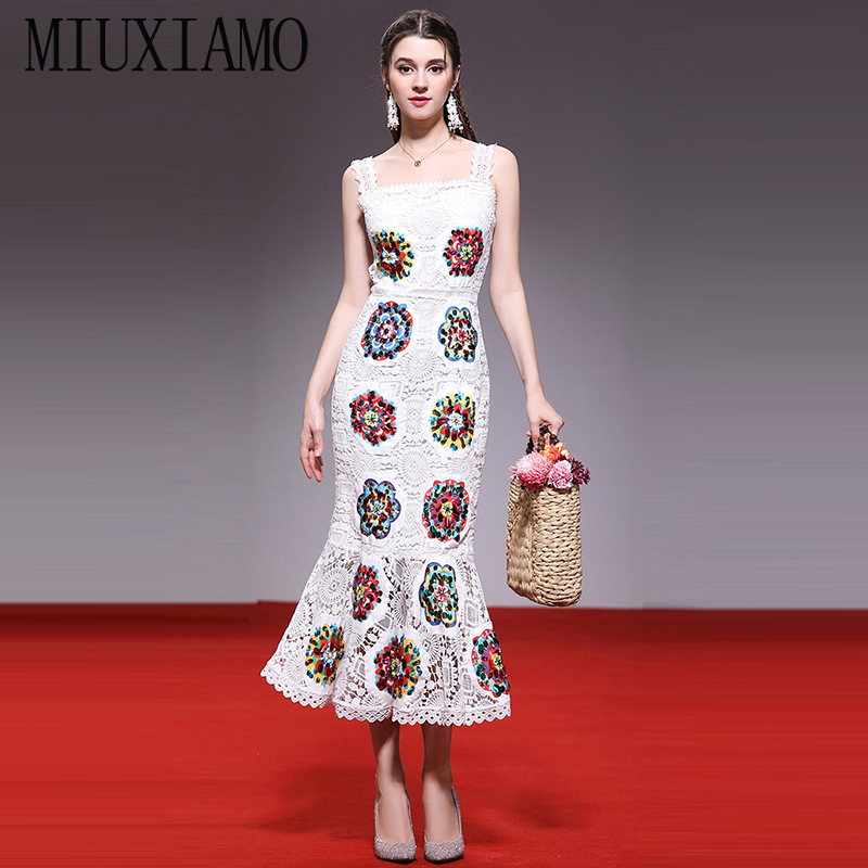 af802aa11f786c Casual Frauen Qualität Trompete Luxuriöse Vestido Blumen Hohe amp  Miuximao Diamanten  Kleid 2019 Frühling Sommer Stickerei Eleghant q7nw6gS