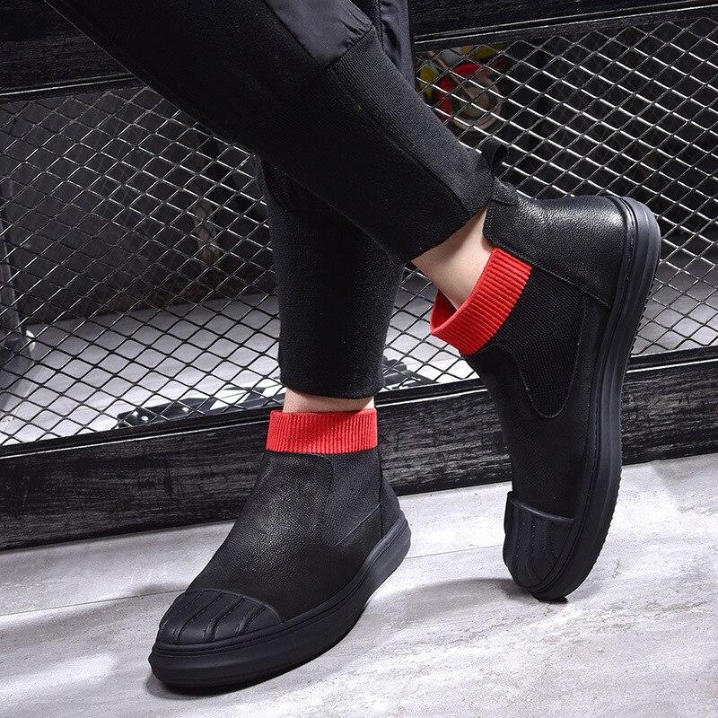 Chaud Bottes Martin Rétro Vache Hommes Respirant Velvet Véritable Cuir allumette Chaussures Haute Black noir Velours De Tout Mâle Sneaker 6ZXwx8