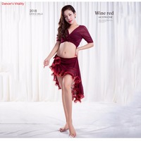 New Arrival Summer 2 piece Bellydance Mesh Suit top+Long Skirt Sexy Sweet Dancer Practice Blue Black Red