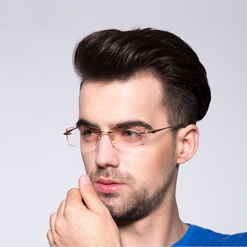 width 140 Frameless ultra light titanium men gradient color diamond cutting male finished EMI Defending Coating len eyeglasses in Men 39 s Prescription Glasses from Apparel Accessories