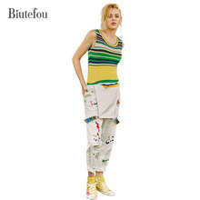 Biutefou brand 2017 autumn women new arrival fashion character embroidery loose hole denim Jumpsuits high quality
