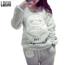 LAISIYI Winter set New Thickened Cute Sleeping Owl Coral Fleece Pajamas Furnishing Suit Coral Velvet Home Wear Leisure Wear 9123