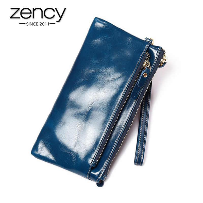 Zency 100% Genuína Mulheres De Couro Longo Bolsa Grande Capacidade Compartimento Nota Titulares de Cartão De Foto Padrão Bolso Da Moeda Da Carteira
