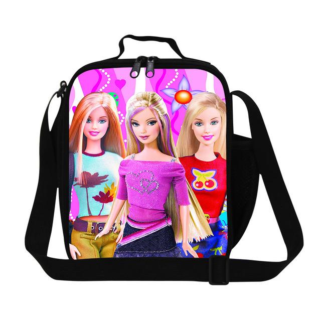 Novo Isolado Saco do Almoço Dos Desenhos Animados Meninas Barbie Boneca Princesa Térmica Alimento do piquenique Saco de Caixa De Almoço Para Crianças Almoço de Trabalho Das Mulheres caixa