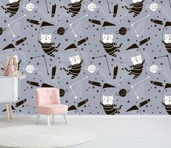 [자기-접착제] 3d 공간 고양이 패턴 88 벽 종이 벽화 벽 인쇄 전사 벽 벽화