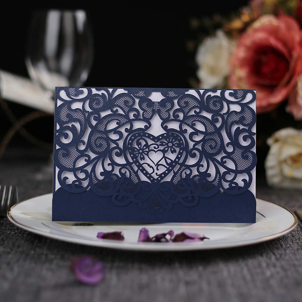 50 pièces carte d'invitation Kit coeur creux cartes d'invitation avec papier imprimable vierge et enveloppes pour mariage, affaires, anniversaire