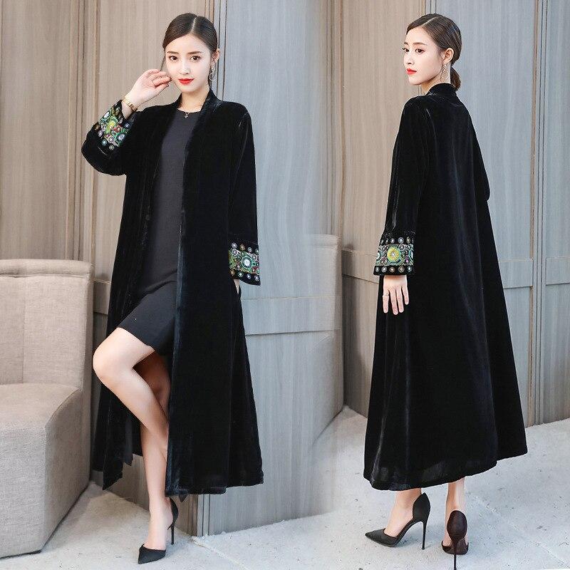 Vêtements femmes hiver Slim manteau à manches longues broderie grande taille veste couleur unie longue Section chaud mi-long coupe-vent