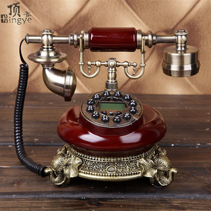 Ye are the top rotating antique telephone European Vintage home office telephone landlines Decoration home art rustic backlit