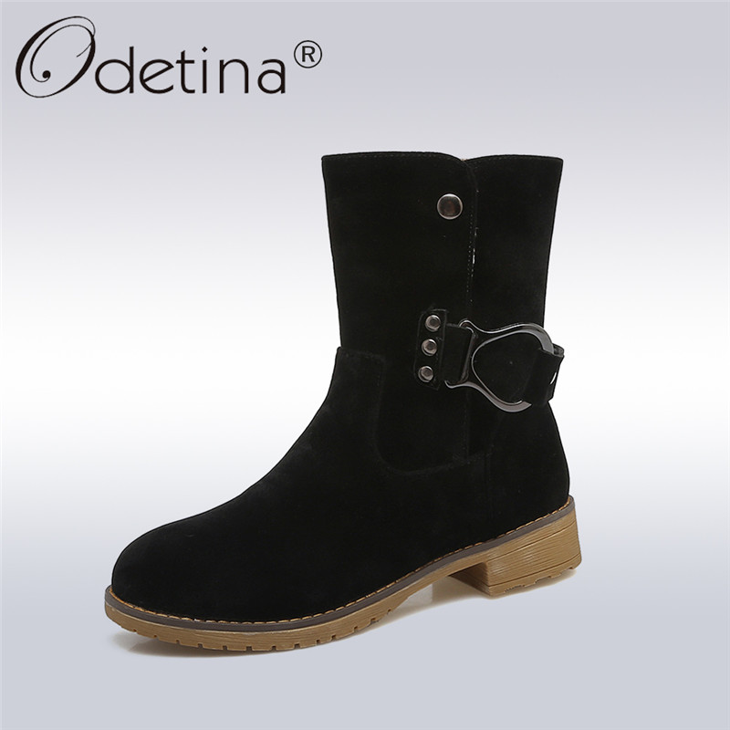 Odetina 2018 New Fashion Ankle Boots Buckle Strap For Women Casual Square Low Heels Shoes Ladies Slip on Short Boots big size 43 odetina 2017 new summer women ankle strap ballet flats buckle hollow out flat shoes pointed toe ladies comfortable casual shoes