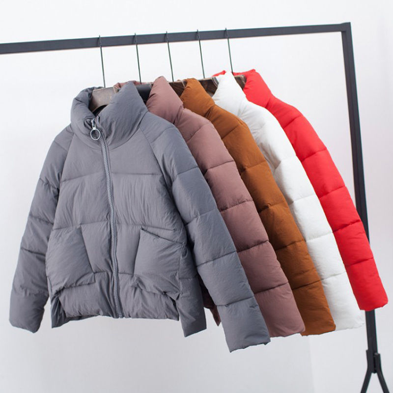 Women Winter Jacket Fashion Stand Collar Short Bread Coat Women Solid Color Warm Jacket Coats Female Winter   Parka   Mujer C5000