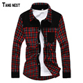 TANGNEST 2017 New Arrival Men Spring Design Corduroy Plaid Shirts High Quality Checkered Long Sleeve Dress Red Blue Navy MCL624