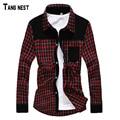 Tangnest 2017 nueva llegada de los hombres de la primavera de diseño a cuadros de pana camisas de alta calidad a cuadros de manga larga vestido rojo azul marino mcl624