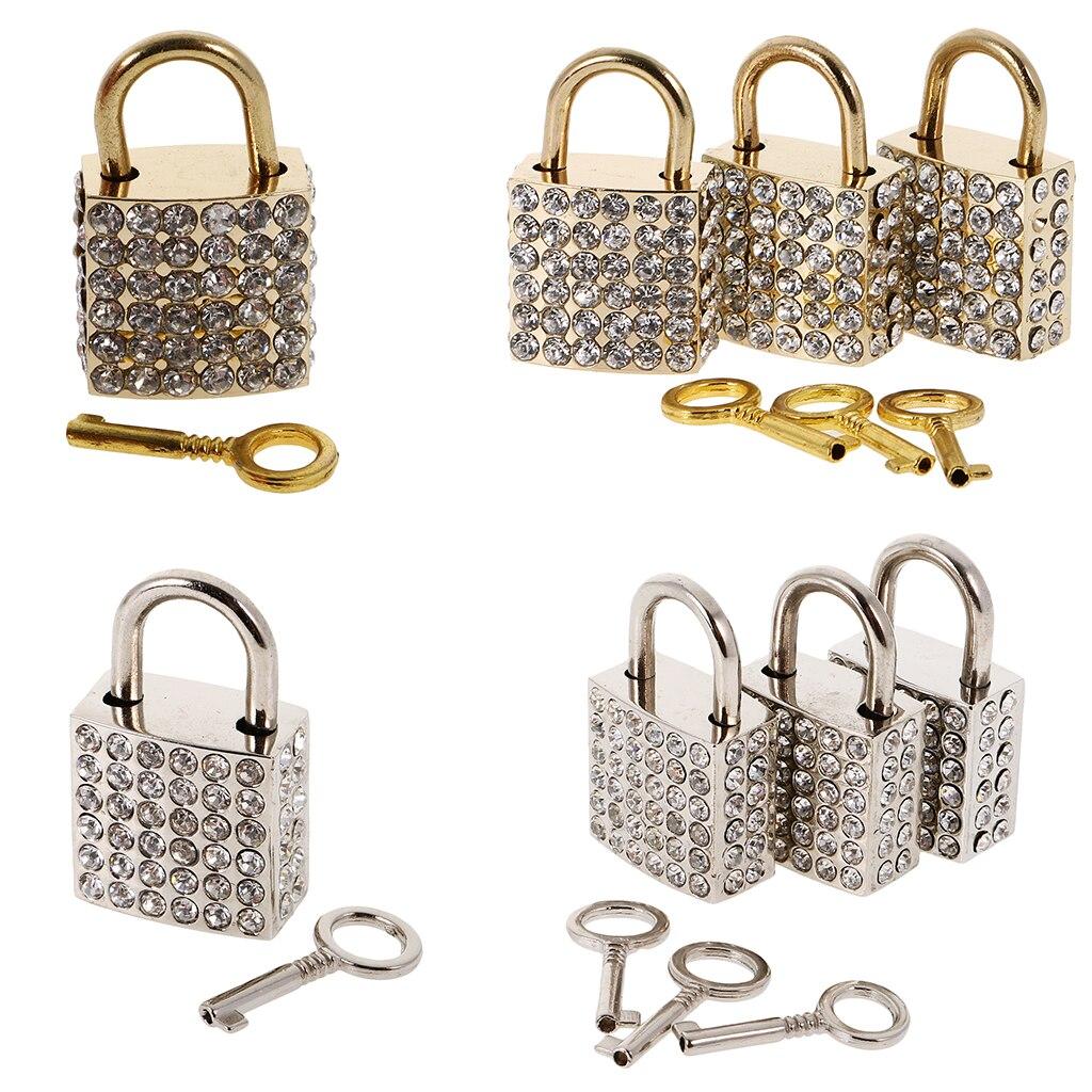 Us 3 52 44 Off New 3 Pcs Diamante Square Padlock With Key Travel Locker Set For Luggage Suitcase Locker Creative Birthday Gift Diy Party Decor In