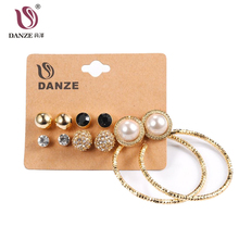 DANZE 6 Pairs/Lot Punk style Stud Earring Sets Women Female 2 Color Small ear drop big Circle Ear Studs brincos Jewelry