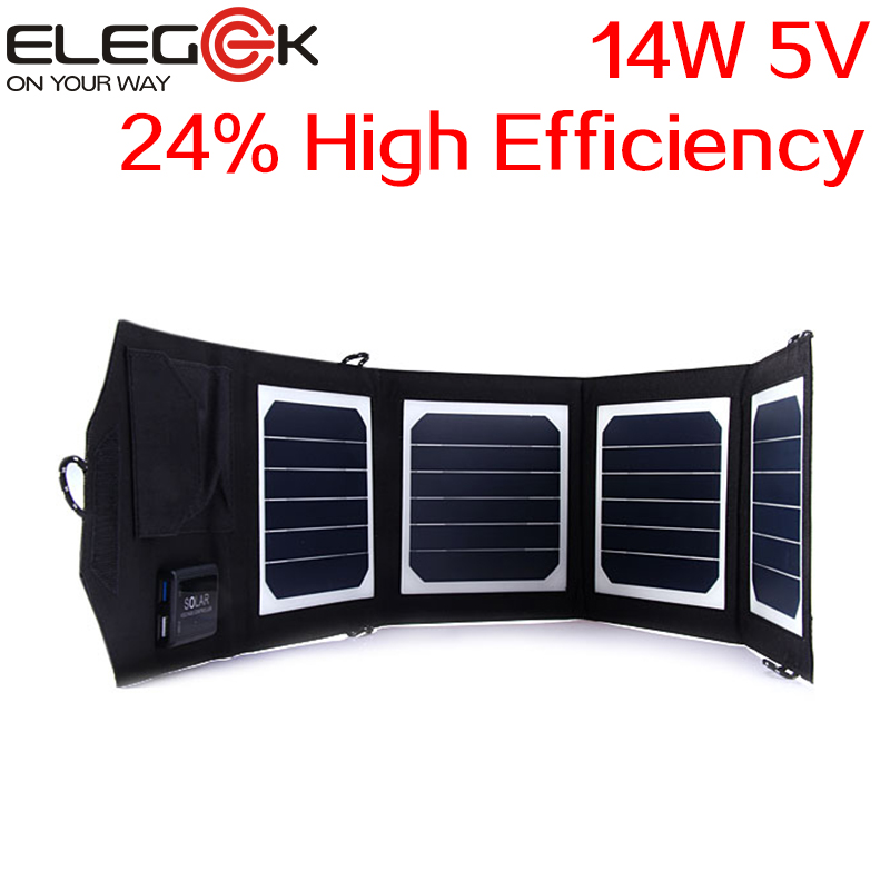 ELEGEEK 14W 5V Sunpower High Efficiency Folding Solar Panel Charger Portable Dual USB Solar Charger for Cellphone PSP Camera soa 011 portable 5v dual usb folding 10w solar powered panel camouflage