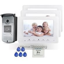 Free Shipping New 7″ Color Screen Video Intercom Door Phone Set 3 White Moniotrs + Outdoor RFID Reader Doorbell Camera Wholesale