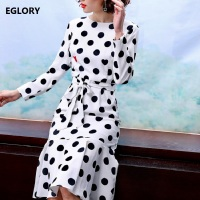 New Korean Fashion Dress Spring 2018 Ladies Black Polka Dot Print Sashes Long Sleeve Bodycon Mermaid Trumpet Sexy Club Dress
