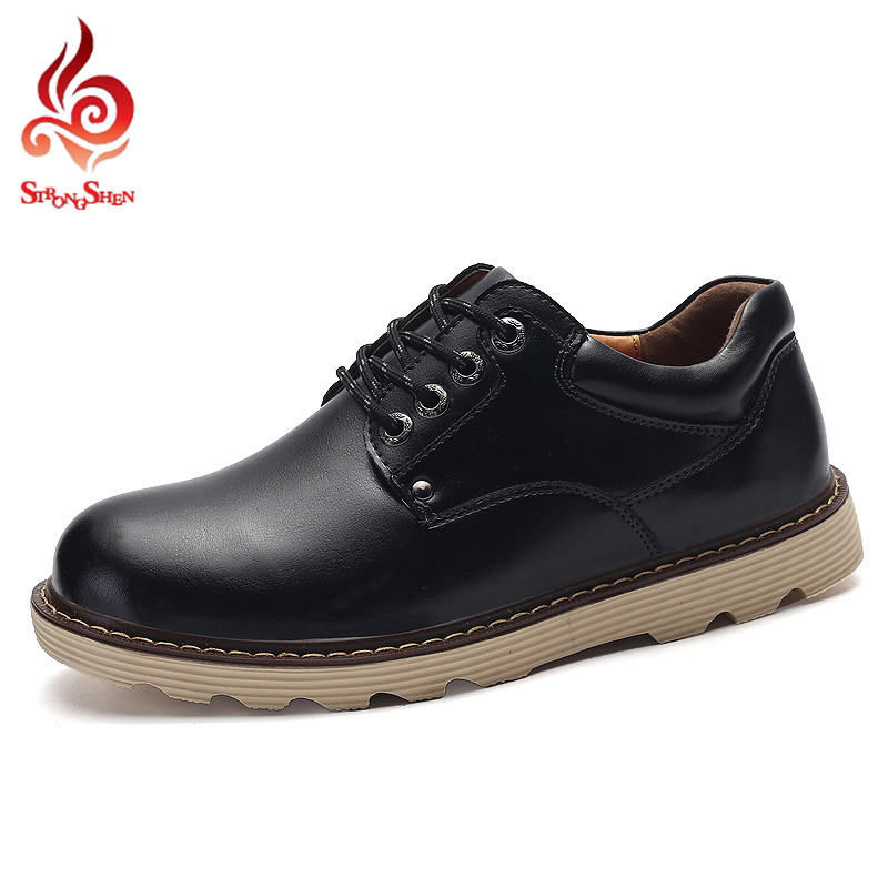 ФОТО Black Fashion Mens Tooling Shoes Lace-up Dress Shoes Casual Flats Men's Retro Design Leather Shoes For Man Wide Boots Mens Flats