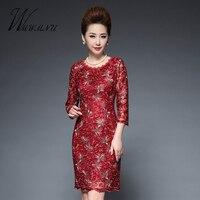 Wmwmnu 2018 الجديدة الأزياء التطريز سليم اللباس المرأة الرباط دقيق زائد الحجم 5xl ثوب حزب bodycon اللباس أنثى مكتب الأحمر