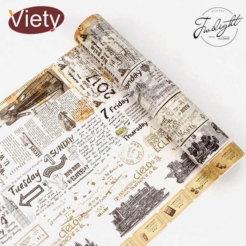 2-8cm*8m Vintage old newspaper washi tape DIY decorative scrapbooking planner masking adhesive tape label sticker stationery ezone 1pc kawaii watercolor sakura petal washi tape diy decorative scrapbooking sticker planner masking adhesive tape stationery