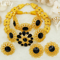 Liffly Bridal Jewelry Set Nigerian Wedding Dubai Gold Jewelry Sets for Women African Big Flowers Necklace Earrings Jewellery