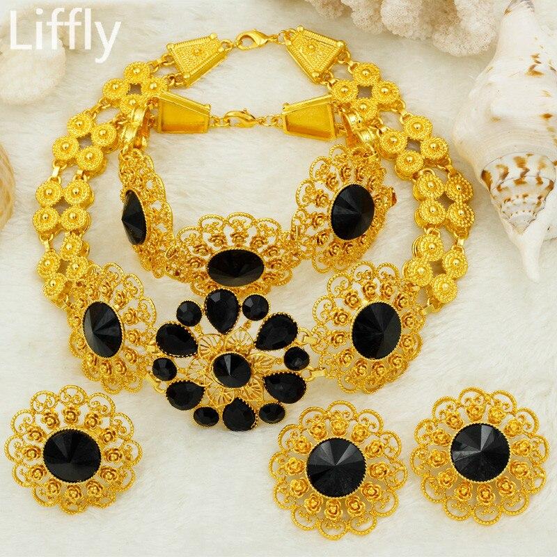 Liffly juego de joyería nupcial boda de Nigeria Dubai conjuntos de joyas de oro para las mujeres de África Flores de pendientes de collar de joyas