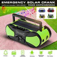 Solar Power WB Crank Emergency Power Bank Hand Crank Self Powered AM/FM Weather Portable Radio 2000mAh Rechargeable