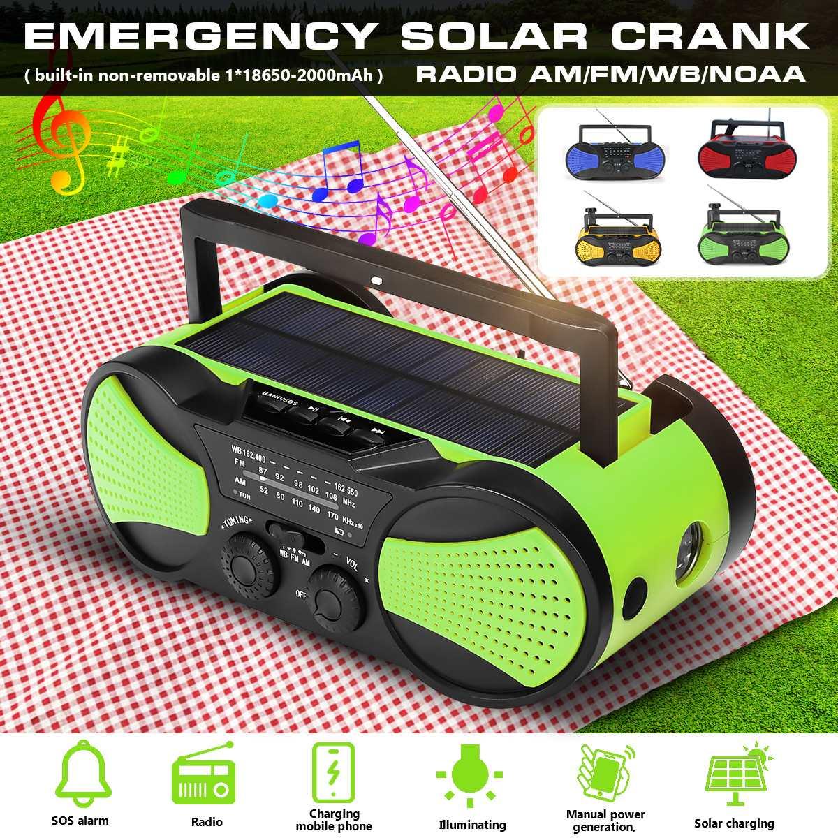 Chargeur portatif de secours de manivelle de WB d'énergie solaire manivelle auto-alimentée Radio portative de temps d'am/FM 2000 mAh Rechargeable