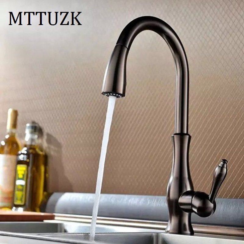 MTTUZK Free Shipping Oil Rubbed Bronze Kitchen Faucets  Pull Out 360 Degree Rotating Deck Mounted Cold And Hot Kran Water Taps allen roth brinkley handsome oil rubbed bronze metal toothbrush holder