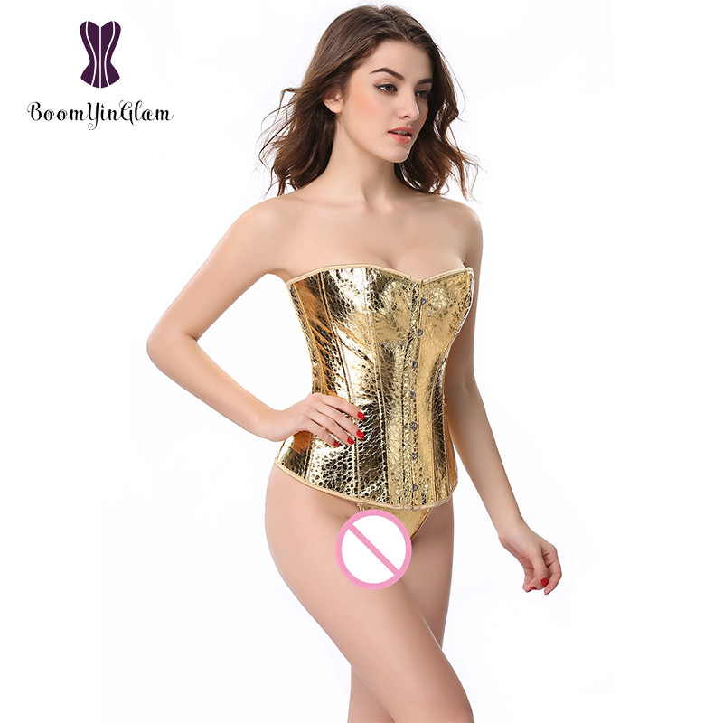 High quality fashion gold   bustiers   &   corsets   overbust corselet bling bling   corset   slimming body shapewear sequin   corset   845#