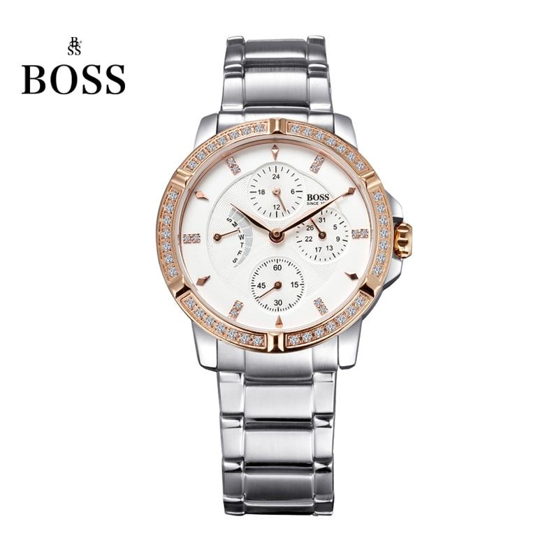 BOSS Germany watch women luxury brand diamond stainless steel multifunction watch waterproof fashion rosegold relogio feminino