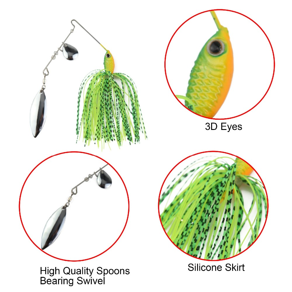 Runature Spinner Bait High Quality metal spoon sequins 16g 1Pcs Fishing Tackle Buzzbait Jigging Lure Pesca Jig Fishing 3D Eyes in Fishing Lures from Sports Entertainment