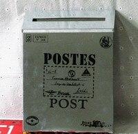 Kostenloser versand vintage Luxus Eisen Mail Mail Box Eimer Zinn Zeitung Brief Metall Wasserdicht Mailbox Abschließbar-in Postfächer aus Heim und Garten bei