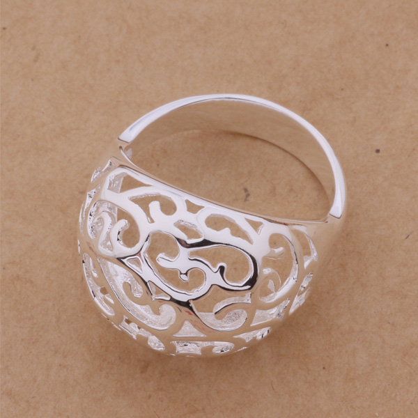AR331 Hollow shiny beautiful delicate Silver Ring Wholesale Fine 925 Fashion For Women Men Gift Silver Jewelry Free Shipping