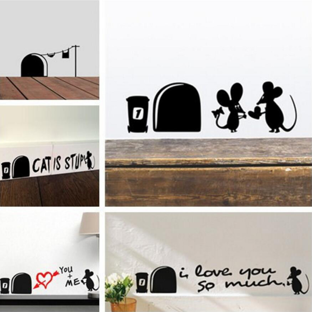 Hot Sale Funny Love Mouse Hole Wall Stickers For Kids Rooms Wall