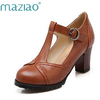 MAZIAO T Strap Women Pumps Shoes 2016 Spring Fall Cutouts Thick Sole Square High Heel Shoes Platform Shoes Casual Shoes Woman