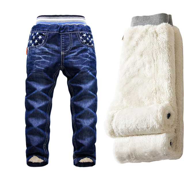 Hot Sale Kids Jeans Boys Casual Children  Thermal Trousers Kids 2-14y Plus Velvet Denim Pants Thicking Warm Trousers For Boy