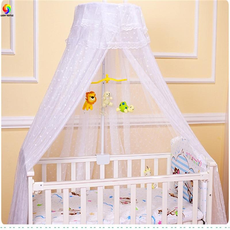 Moustiquaire blanche pour bébé enfants dentelle rose princesse maille filet jaune filets d'été pliant plafond lit rideau enfant en bas âge