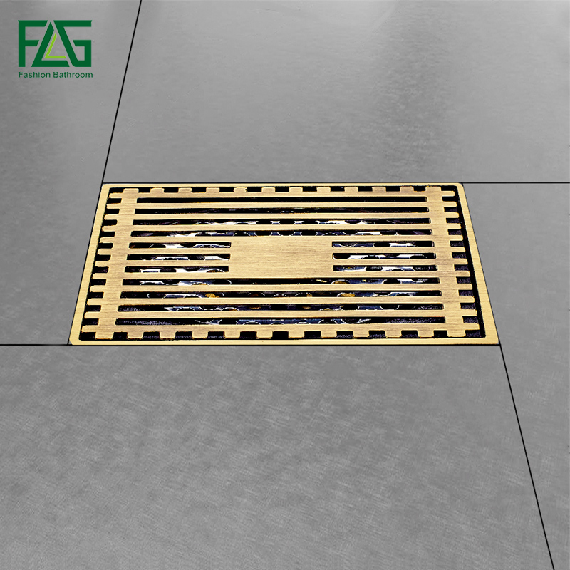 Modern Brass Grille Shape Bathroom Floor Waste Grate Shower Drain, Deodorization Type Antique Floor Drainer 10cm*10cm modern 90 10 cm oil rubbed bronze style deodorization grate waste floor drain floor mounted