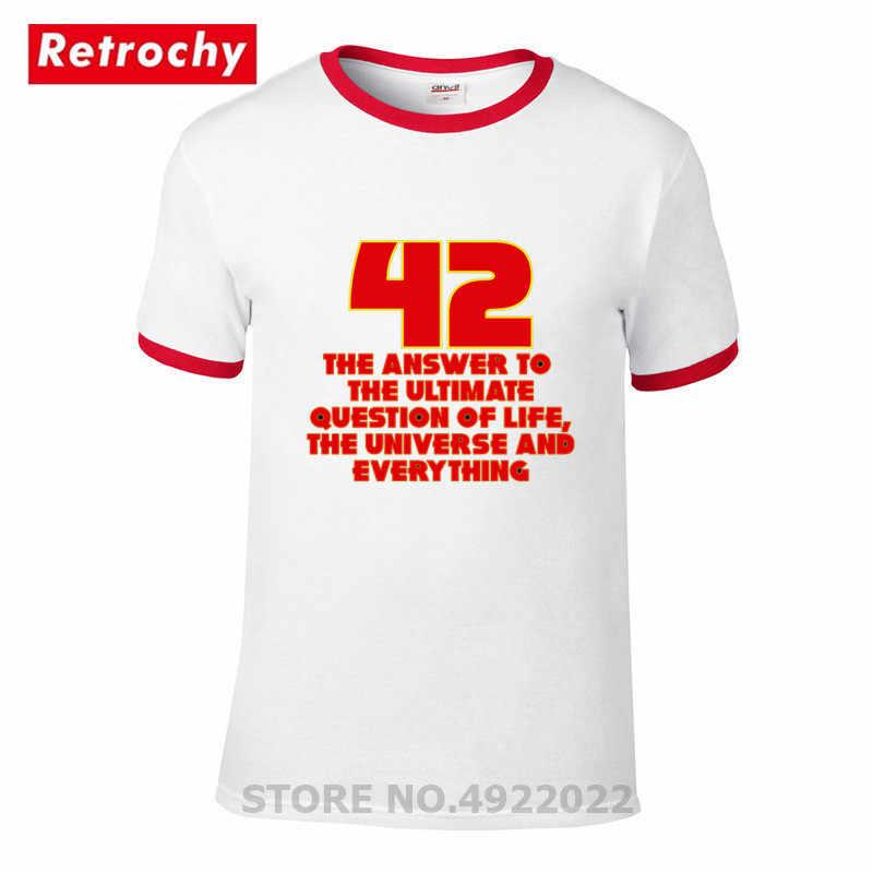 42 T-shirt niestandardowe Fiction film Tshirt mężczyźni proste na co dzień list T Shirt przewodnik autostopowicza do galaktyki bawełniane topy tee czerwony